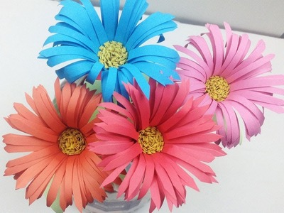 How to Make Aster Flower out of Colour Paper - Easy Way to Make Paper Flowers Step by Step DIY Folds