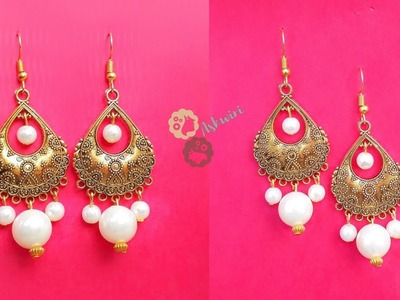 How To Make Beautiful Antique Pearl Drop Earrings At Home | DIY | Designer Earrings.uppunutiashwini