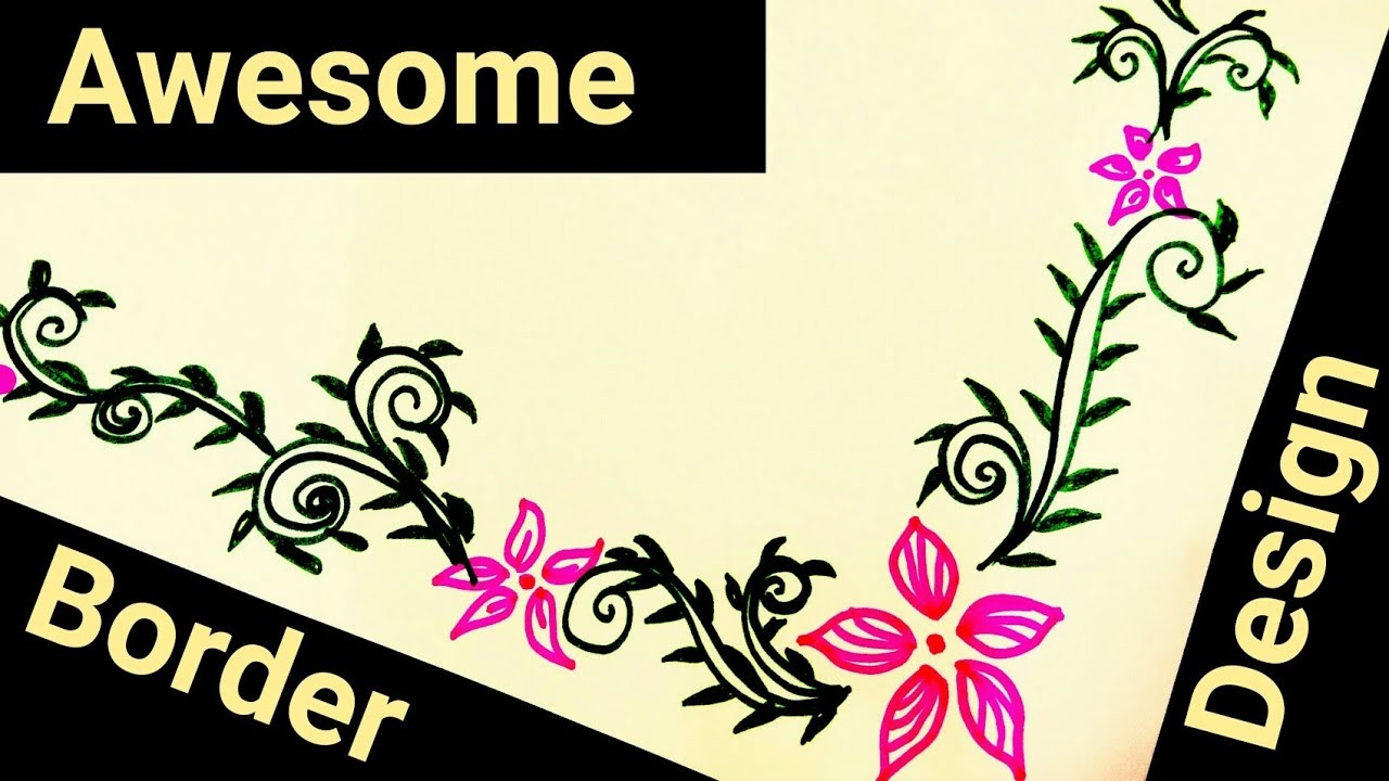 How to make beautiful border design on paper for school ...