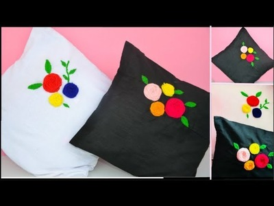 How to make Cushion Covers   Home Decor idea   Easy Flowers Stitching method using Wool