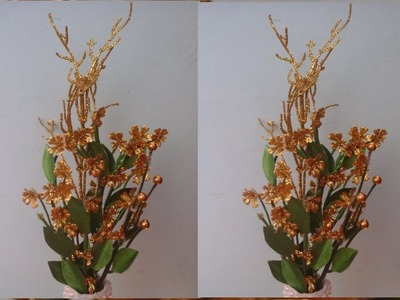 How to make decorative flower sticks using giltter flower.Flower making tutorial.