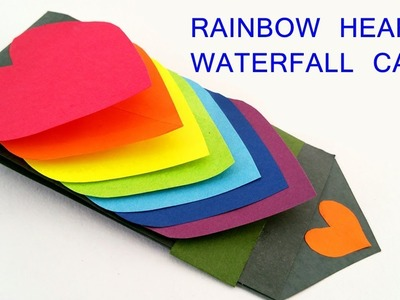 How to Make DiY Rainbow Heart | Love Waterfall Card for Valentines Day | Diy Step by Step Tutorial