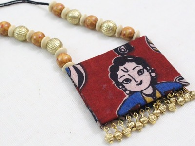 How to make Kalamkari Necklace (Fabric)