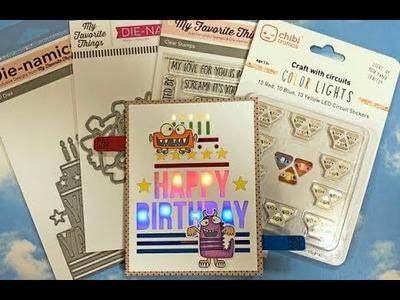 How to make Light Up Monster Birthday Card.