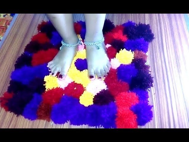How to make pom pom rug with woolen thread