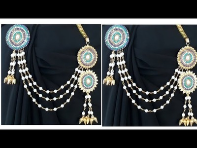 How TO Make Saree Pin.  Making With pearl beads. jewellery making. naveena pujari