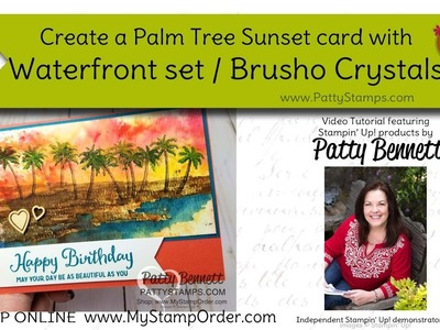How to use Brusho and the Waterfront set: Sunset Palm Tree card