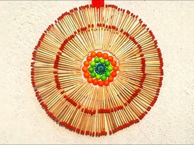 Matchstick round wall hanging making | how to make wall hanging from matchstick | matchstick art.
