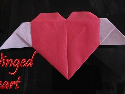 Origami winged heart making video easy with a4 colour paper