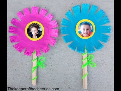 Paper plate photo flowers