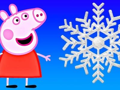 Peppa Pig and Grandpa Pig Make DIY Paper SNOWFLAKES!