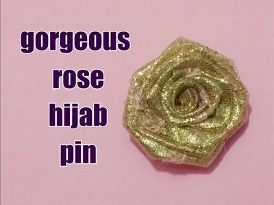 Rose hijab pin. how to make rose hijab pin tutorial. hijab pin