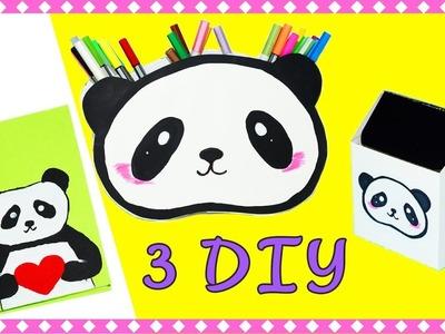 3 DIY Panda School Supplies Back to School You Need To Try ! Notebooks , Trash Bin , Pencil holder