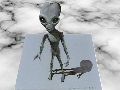 3D ALIEN ✅ - How to Draw Alien - Trick Art on Paper - Vamos