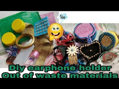 7 ideas to make earphone holder with waste materials || Diy earphone holder