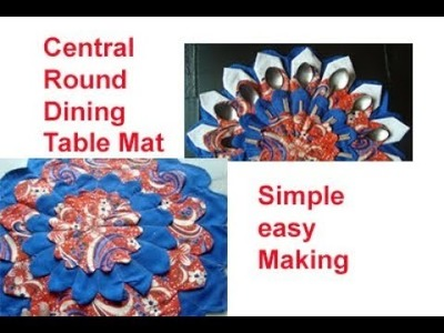 Central Dining round table mat.DIY home decoration.floor mat. area rug. recycle old cloths