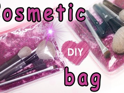 Cool cosmetic bag pouch with glitter water - DIY