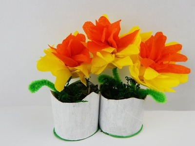 Decoration spring flowers DIY crafting with crepe paper Frühlingsblumen Dekoration