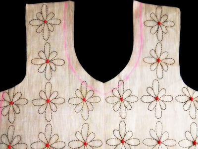 DIY : Daisy Flower Running Stitch on Fabric | How to TRACE on Fabric | Fabric Painting Designs