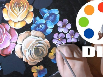 DIY, Decoration idea, Zhostovo Style, Paint flowers on a black tray