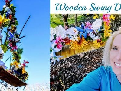 "Diy Dollar Tree Spring Decor. Wooden Floral Swing ""NEW 2018"""