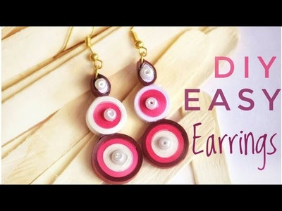 DIY EASY EARRINGS.QUILLING PAPER EARRINGS