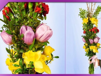 DIY How to make Easter palm decoration out of fresh flowers (ENG Subtitles) - Speed up #460