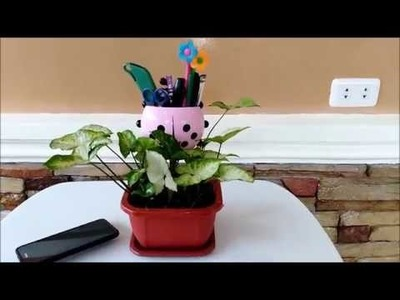 DIY Plant Pot Cell Phone, Toothbrush and Pen Holder