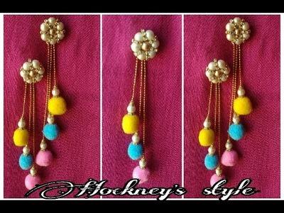 DIY.Pom pom earrings.Pom pom dangle earrings.making pompom with pearl earring.Earrings.pom poms