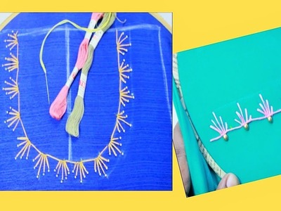 Hand Embroidery Stitch On Churidar. Kurti  Neckline ( DIY) Very Easy To Make