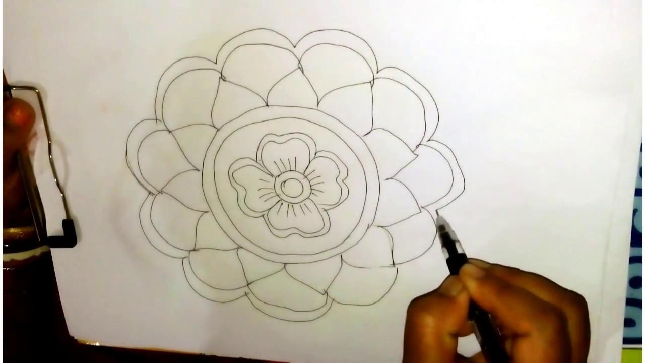 How To Draw Rangoli Designs On Paper Step By Step Easy Rangoli