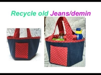 Old Jeans shopping bag. Handbag. travelling bag.jeans tote bag | DIY OLd Jeans Recycling Idea