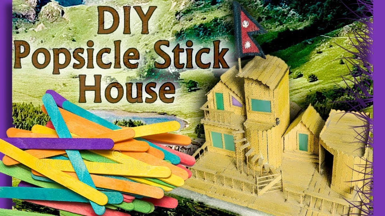 Popsicle Stick Crafts | Popsicle House with Garage, Stairs and Fence | DIY Tricks 2018