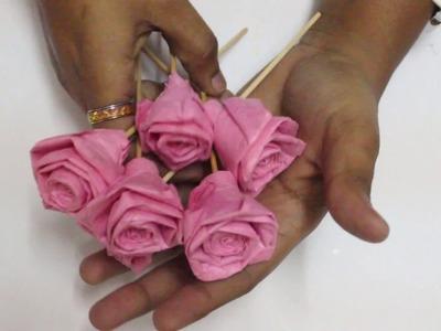 Rose paper rose making in tamil easy method to make paper rose tissue paper rose flower making mightylinksfo