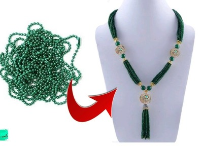 Unique DIY Idea with ball chain | Designer necklace making with ball chain