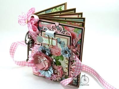 Vintage Botanical Tea Envelope Mini Album Scrapbook Polly's Paper Studio Flip Through Graphic 45