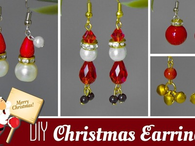 4 DIY Christmas earrings in minute | How to make Santa, jingle bells, Christmas Bulb earrings