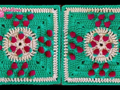 A CROCHET: Cuadro con Fresas (Strawberry Square)