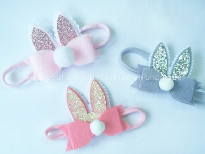 Baby Headband Ideas : Bunny Ear Headband With Bowtie Flannel | DIY by Elysia Handmade