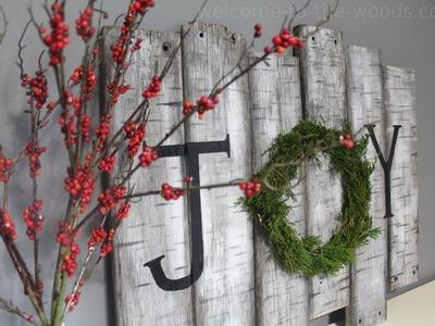 Birch sign Juniper Wreath DIY Tutorial Christmas Decor