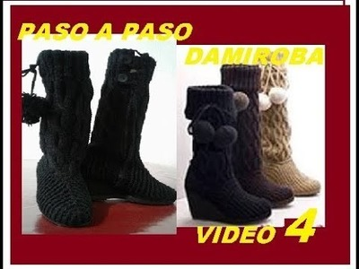 BOTAS CROCHET Y AGUJAS TRENZADAS VIDEO 4