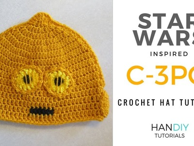 C-3PO Droid Crochet Hat Tutorial inspired by Star Wars