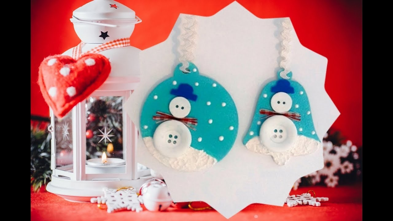 Christmas DIY ornaments with buttons