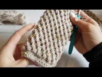 Crochet tutorial - Puff Stitch Fingerless Gloves - free pattern