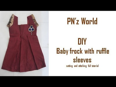 DIY Baby frock with ruffle sleeves cutting and stitching full tutorial