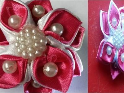 DIY Beautiful ribbon hair bow || How to make kanzashi flower for baby hair clip.hair bow