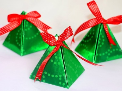 DIY Christmas Gift Box | Easy Paper Pyramid Gift Box | Paper Crafts | Christmas Crafts