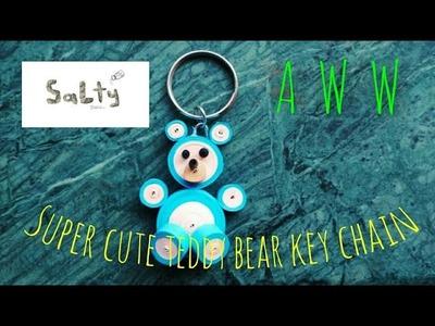 #DIY cute quilled teddy bear key chain ????,tutorial by Salty stone!