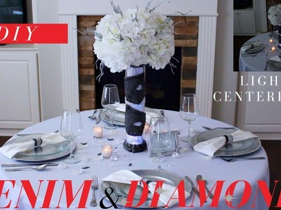 DIY DENIM & DIAMONDS CENTERPIECE | ELEGANT DENIM AND DIAMONDS PARTY DECORATIONS