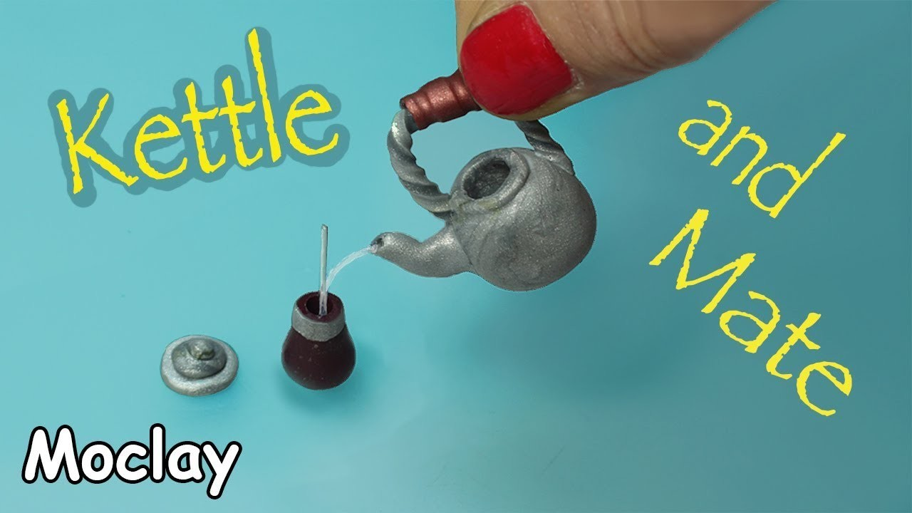 DIY Dollhouse Miniature tutorial - Kettle and Mate -  Pava y mate